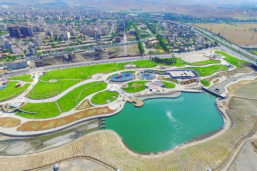 تصویر هوایی از رود پارک و پارک ۴۰ بازه مشهد